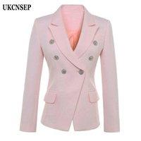 Женские костюмы Blazers Ukcnsep 2021 осень осенью зима женские пиджаки двойной повседневный с длинным рукавом розовый куртка