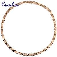 Escalus 96 Kristaller Tüm Gül Altın 316L Manyetik Paslanmaz Çelik Kolye Kadınlar için Zarif Sağlıklı Takı