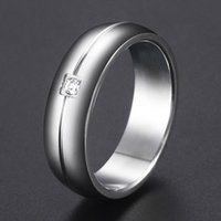 Wedding Rings Stainless Steel Ring For Men Women Iced Out CZ Womens Band Silver Color Groove Jewelry Valentines Gift 4 6mm DKRM48