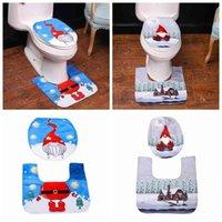 Christmas Toilet Seat Cover Foot Pad Rug Mat Swedish Gnome Santa Bathroom Decor K0AB