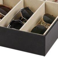 Eyeglass óculos de sol Caixa de armazenamento com janela imitação de óculos de couro expositor organizador de armazenamento coletor 8 slot GGA4246