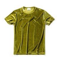 남성용 티셔츠 남성 여름 10 색 벨벳 티셔츠 나이트 클럽 가수 무대 의상 스트리트웨어 망 캐주얼 벨벳 티셔츠 힙합 의류