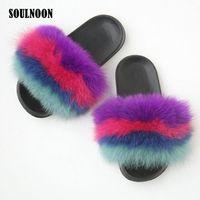 Summer Flip Chip chaps mezclado de color mezclado zapatillas de piel peludas deslizantes femeninos zapatillas de felpa plana zapatos de felpa plana sandalias casuales m8cg #