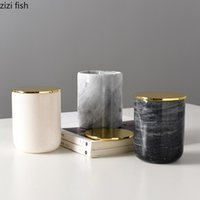 European marble candle cup metal lid candy jewelry small obj...