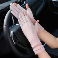 Five Fingers Gloves Lace Floral Summer Women Thin Fingerless Solid Driving Glove High Elastic Fashion Mittens Accessories Sunscreen For Adul
