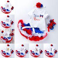 2021 Summer Baby Girls 4pcs Sets Cartoon Unicorn Bodysuit Tutu Skirt Headwear Shoes Outfits Children Jumpsuit 2579 Y2