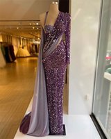 Purple Sequined Mermaid Evening Dresses Beads Halter One Shoulder Long Sleeves Prom Dress With Wrap Formal Party Gowns Custom Made Robe de mariée