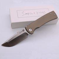 SMKE Bıçaklar Özel Redention 229 Cep Katlanır Bıçak 12C27N Blade Bronz Eloksal Titanyum Kolu Survival Taktik Bıçak Açık Araçları