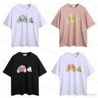 Moda verão homens e mulheres anjos t - shirts mans estilista tee guilhotina urso impresso manga curta truncado urso anjo camiseta