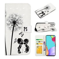Печатные одуванчики бабочки окрашены на окрашенные кожи PU кожаный кожаный кошелек с слотом для кредитных карт для Samsung S20PLUS S21ULTRA NOTE20PRO NOTE20 S10 A52 A72 COUL