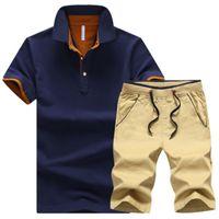 Tracksuit 남성 브랜드 폴로 정장 여름 탑 짧은 세트 남성 패션 2 조각 티셔츠 반바지 Moletom Masculino Sportuits 세트