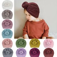 12 Colors Baby Hat Cute Girl Boy Knot Indian Turban Headdress Cap Kids Head Wrap Solid Soft Headwrap Cotton Infant Toddler Hairband Beanie