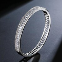 Simple Fashion Drop Shipping Original Desgin Jewelry 18K White&Rose Gold Filled Princess Cut White Topaz CZ Diamond Bracelet DFF3393