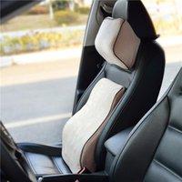 Seat Cushions Velvet Fabric Car Lumbar Support Back Pillow And Headrest Neck Memory Foam Waist Massage Ergonomic 7029