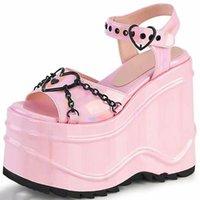 Sandals Women's High Heels For Ladies Bright Leather Designer Shoes Female Platform Novelty Shoe Girls Summer Plus Size 43 Pumps