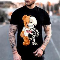 Men's T-Shirts 2021 Funny Skull Teddy Bear Skeleton T Shirts Casual Clothes Men Fashion Clothing Cotton TShirts Tee Top