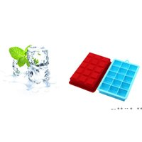 15 Grids Silicone Ice Cream Mould DIY Cube Jelly Ice-Making Make Tool Moulds 7 Colors Mold With Cover Kitchen Portable Supplies EWF10091