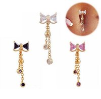 Bowknot shape zircon belly rings sexy piercing bell button ring body jewelry for women