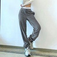 Pantalon de survêtement Femmes Jogger Mujer Hiver Côtège-velours velours pour femmes Streetwear Pantalons de piste Femmes Mode Lettre Sports Pantalons
