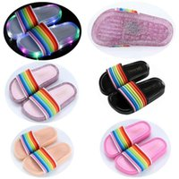 LED Light Up PVC Slippers Fashion Kids Summer Flashing Rainbow Shower Boy Girls Jelly Slider Sandals Loafer Outdoor Home Shoes