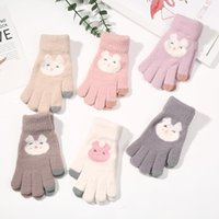 Five Fingers Gloves Winter Women Embroidery Warm Mittens Girls Outdoor Skiing