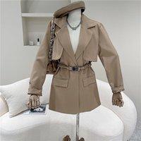 Frauenanzüge Blazer Frühling Sommer 2021 Nischen Design Mode Elastische Taille Button Windjacke Typ Anzug Mantel Lose Lässige Feste Farbe