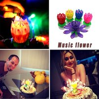Música vela doble flores flores de cumpleaños pastel plana giratoria velas electrónicas fiesta fiesta decoración