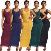 Günlük Elbiseler Kadın Tank Elbise Örme Pamuk Sıska Robe Kolsuz Katı Renk Ince Seksi Maxi Streç Artı Boyutu Giyim