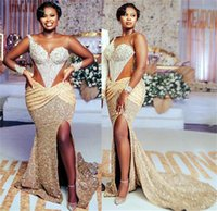 2021 Plus Size Arabic Aso Ebi Gold Mermaid Sequined Prom Dresses Lace Beaded Sheer Neck Evening Formal Party Second Reception Gowns Dress ZJ223