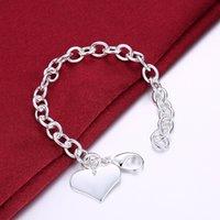 925 Sterling Sierly Sierl Lucky Bracelets Puff Moda Heart Charm Cadena Brazalete Mujer Señoras Niñas Joyas Fine Silber Pulseiras