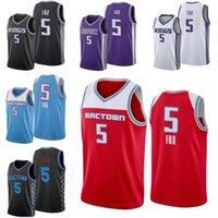 Hommes S-2XL Basketball Jerseys 5de'Aaron Fox 40Harrison Barnes 22Richaaun Holmes 35marvin Bagley III 55 Williams 4 Webber Blanc Black Blue City Version Version Jersey