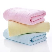 Towel 2pcs lot Pure Cotton Thin Upscale Dry Hair Face Hand & Bath Towels Two Layers Gauze Heathy Soft On Sales