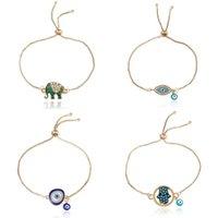 Fashion Enamel Good Luck Elephant bracelets For women Hamsa Hand Love Letter Turkey Blue Evil Eye charm Gold chains Bangle Jewely 81 K2