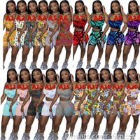 Summer Women Tracksuits Sexy Shorts 2 Pantalones de dos piezas Set Dibujos animados Impreso Trajes Lady Jogger Trajes Suspender Tops A001