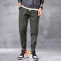 2021 Yeni Yeni Tasarımcı Moda Erkekler Kot Gevşek Fit Amry Yeşil Rahat Kargo Pantolon Streetwear Elastik Hip Hop Joggers Geniş Bacak Pantolon Çukurları