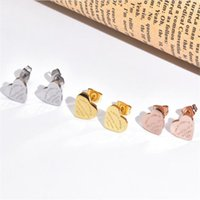 Martick Gold- Farbe Herz Ohrringe für Frauen Rose Gold-Farbe Herz Ohrstecker mit englischen Buchstaben Fine Schmuck Geschenk