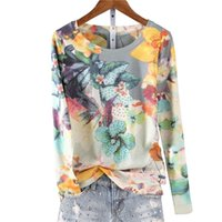 Fashion hot drilling floral printed t shirt women o-neck long sleeve graphic tees basic tee shirt femme 4XL 5XL spring new 210304