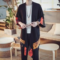 Ethnic Clothing Men's Kimono Japanese Yukata Men Male Vintage Linen Man Shirt Streetwear Haori Cosplay Jacket 20