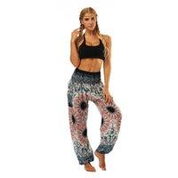 Гарм брюки Спортивные Женщины Свободные пляжные Йога Богемия Леди Цифровые печатные Брюки для бытовой йоги Спортивные орнаменты