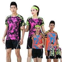Mädchen / Herren Tennishemd Badminton T-Shirt Orange Jugend Kits Tischtennis Uniform Camiseta Tenis Pantaloncini Tennis