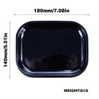 18 * 14 cm nero che fuma vassoio di rotolamento con coperchio magnetico tabacco vassoi di stoccaggio a colori piastra di sigaretta in metallo accessorio fumo GWD10346