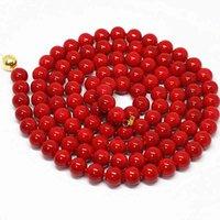 الاصطناعي الأحمر المرجان جولة الخرز 8 ملليمتر 10 ملليمتر 12 ملليمتر جميلة المرأة قلادة حزب الملابس سلسلة طويلة مجوهرات 36 بوصة B1488