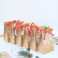 6 Stili Europeo New Christmas Candy Box Christmas Kraft Paper Snowflake Paper Bag Biscuit Bag Candy Bag HWD7502