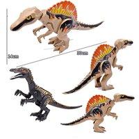 2 piece set Animal World Jurassic Dinosaur Park Spinosaurus Baryonyx Mini Dinosaur Eggs Building Blocks Bricks Toys Gifts X0127