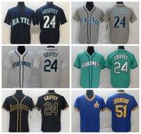 """야구 유니폼 24 Ken Griffey Jr. 51 Ichiro Suzuki 2021 남성 여성 청소년 시애틀 """"마리너스""""저지 사이즈 S-4XL 729"""
