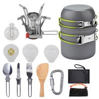 Conjuntos de cocina Camping Kit de utensilios de cocina al aire libre Juego de cocinar al aire libre Sistemas de la bandeja de la olla de agua Sistemas de viaje de viaje Picnic BBQ ultraligen vajilla HH21-99