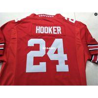 001 # 24 Malik Hooker Ohio State Buckeyes Колледж Джерси Белый Красный Черный Персонализированные S-4xlor Пользовательские Любое имя или Номер Джерси