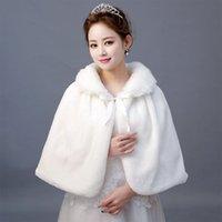 Cheap Winter Ivory Hot Sale Faux Fur Shawl Wrap Wedding Bridal Bridesmaid Wraps Warmer Women Shawl With Ribbon Cloak In Stock