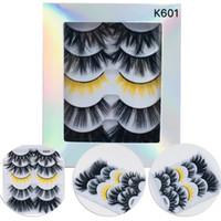 5 Paare Nerz Haar Falsche Wimpern 5 Arten K600 ~ K605 Dicke natürliche langen Leitungen Wimpern Erweiterungen MY05K600