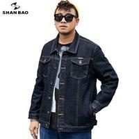 Vestes pour hommes Shan Bao 5XL 6XL 7XL 8XL 8XL Veste en denim noire en vrac 2021 Automne Classic Brand Dépouillement